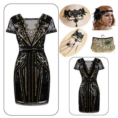 Gold 30s 1920s Flapper Charleston Gatsby Themed Wedding Party Evening Prom Dress