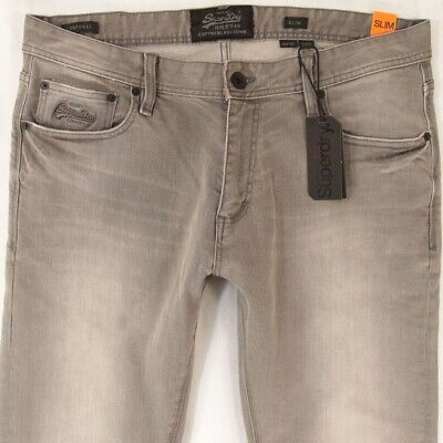 NEW Mens SuperDry SLIM Stretch Grey Jeans W36 L32 BNWT