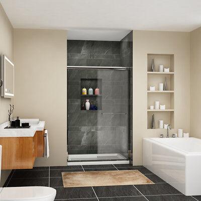 """Fine SHOWER Sliding Shower Doors 48"""" x 72"""" Semi-Frameless Bypass Glass Chrome"""