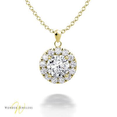 0.98ctw GIA Round Diamond Halo Necklace Pendant 14K Gold D/VS2 (6301290422)