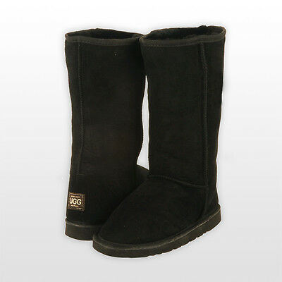 Tall Classic Ugg Boots Black ladies size 6 Genuine Sheepskin