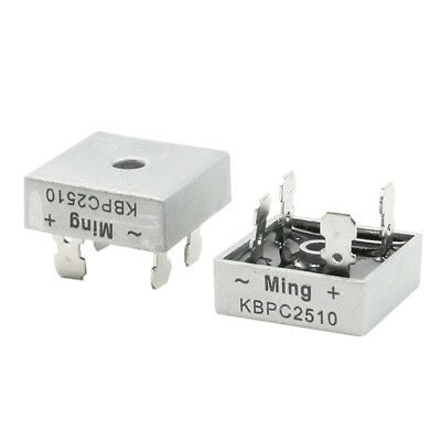 2 Pcs Square Silver Tone Head 1000v 25a Full Wave Bridge Rectifier N3j7