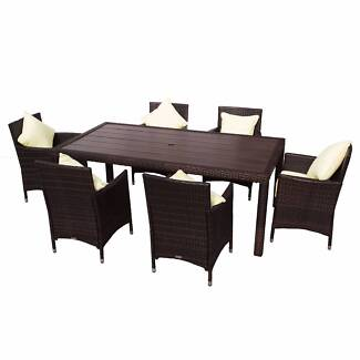 Morocco 7 Piece PE Wicker Outdoor Dining Set   Brown With Faux Ti. $649.00. Seven  Hills Part 24