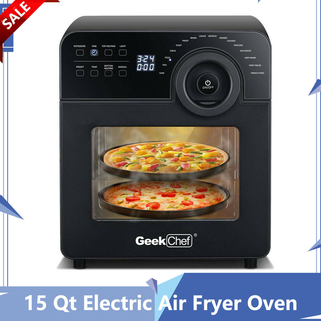 15 Qt Electric Air Fryer Oven Toaster Kitchen Fry Oil Free Roast Portable New