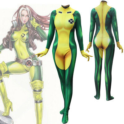 Halloween Cosplay Women X-Men Rogue Annual Hero Costume Zentai Jumpsuit Bodysuit