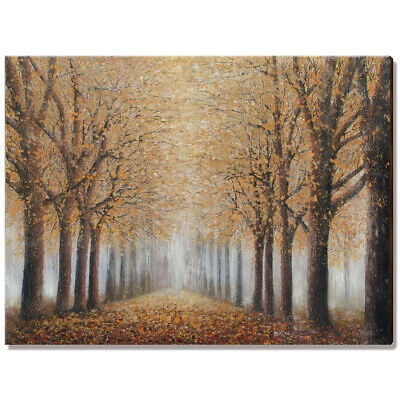 Tree Wall Art Hand-Painted Oil Painting Framed Autumn Landscape Canvas Print