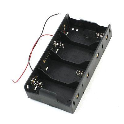 Spring Clip Black 4 x 1.5V D Size Battery Batteries Holder Case New