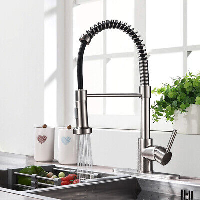 "Kitchen Sink Faucet Pull Down Sprayer Brushed Nickel Mixer Tap With 10"" Cover"