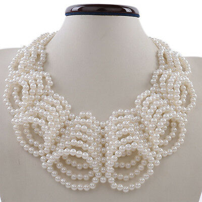 Kalse White Pearl Seeds Beads Statement Bib Collar Chain Charm Chunky Necklace