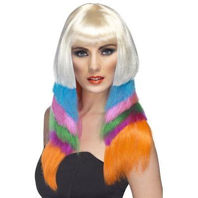 Damen Raver Bunt Lagig Kostüm Perücke 80er 90er Jahre Erwachsene - 90er Rave Kostüm