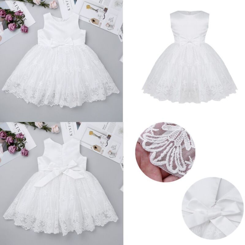 e7a4d628d2f40 Details about Lace Flower Baby Girls Baptism Christening Dresses Wedding  Pageant Tutu Dress