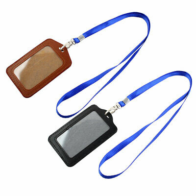 Faux Leather Business Id Badge Card Vertical Holders Black Brown 2 Pcs