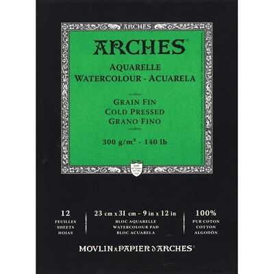 "Arches 140 lb. Cold Press Watercolor Paper Pads - 9x12""  - 140 Lb. Cold Press,"