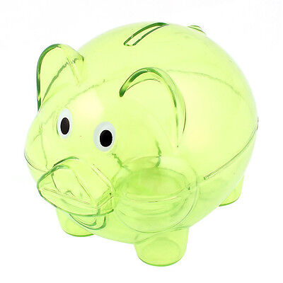 Clear Plastic Piggy Bank (Plastic Collectible Piggy Bank Coin Savings Money Cash Box Clear Green AD)