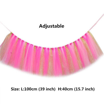 Tulle Tutu Table Skirts ONE Banner Gold for Baby Birthday High Chair Decoration (High Chair Tutu)