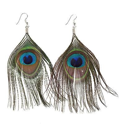 Women Boho Style Rhinestone Long Natural Peacock Feather Drop Earrings T1