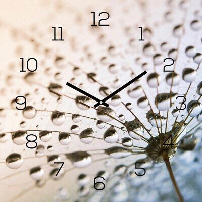 Levandeo Reloj de Pared Cristal 30x30cm Cuadro Diente León Decoración Flores