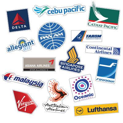 Airline Sticker Laptop Travel Suitcase Decal Sticker Luggage 15PCS B Type Delta