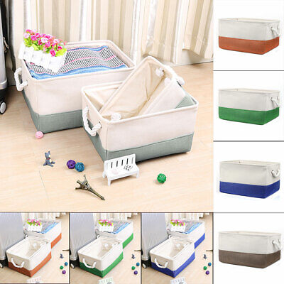 Foldable Fabric Storage Basket or Bin Box with Cotton Handles for Closet Shelves ()