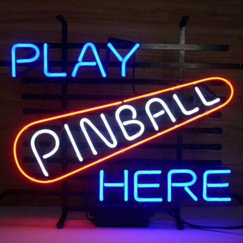 "New Play Pinball Here Bar Beer Neon Sign 20""x16"" Game Room Glass Lamp Artwork"