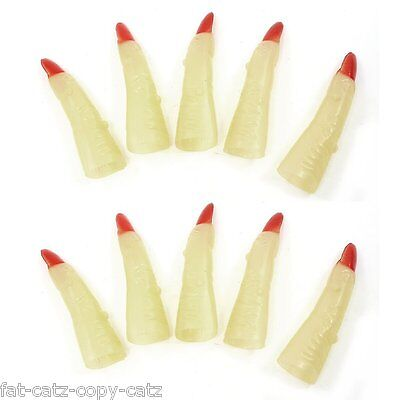 10x LONG HALLOWEEN HORROR GLOW IN THE DARK WITCH CLAW FINGERS NAILS UKSELLER (Dark Claw Costume)