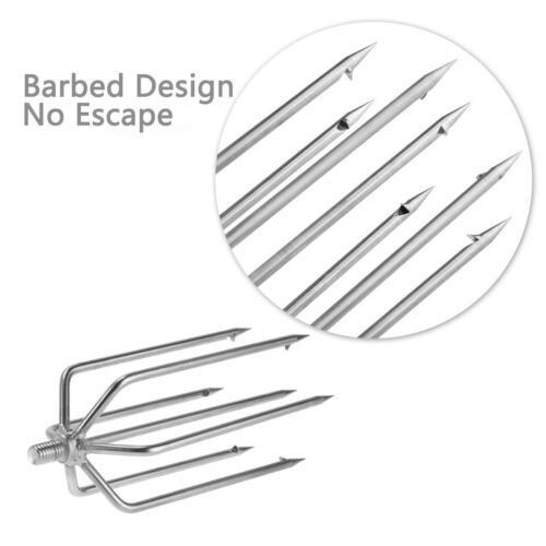 Stainless Barbed Stainless Steel Tine Harpoon Fishing Spears Forks Hooks Hot New