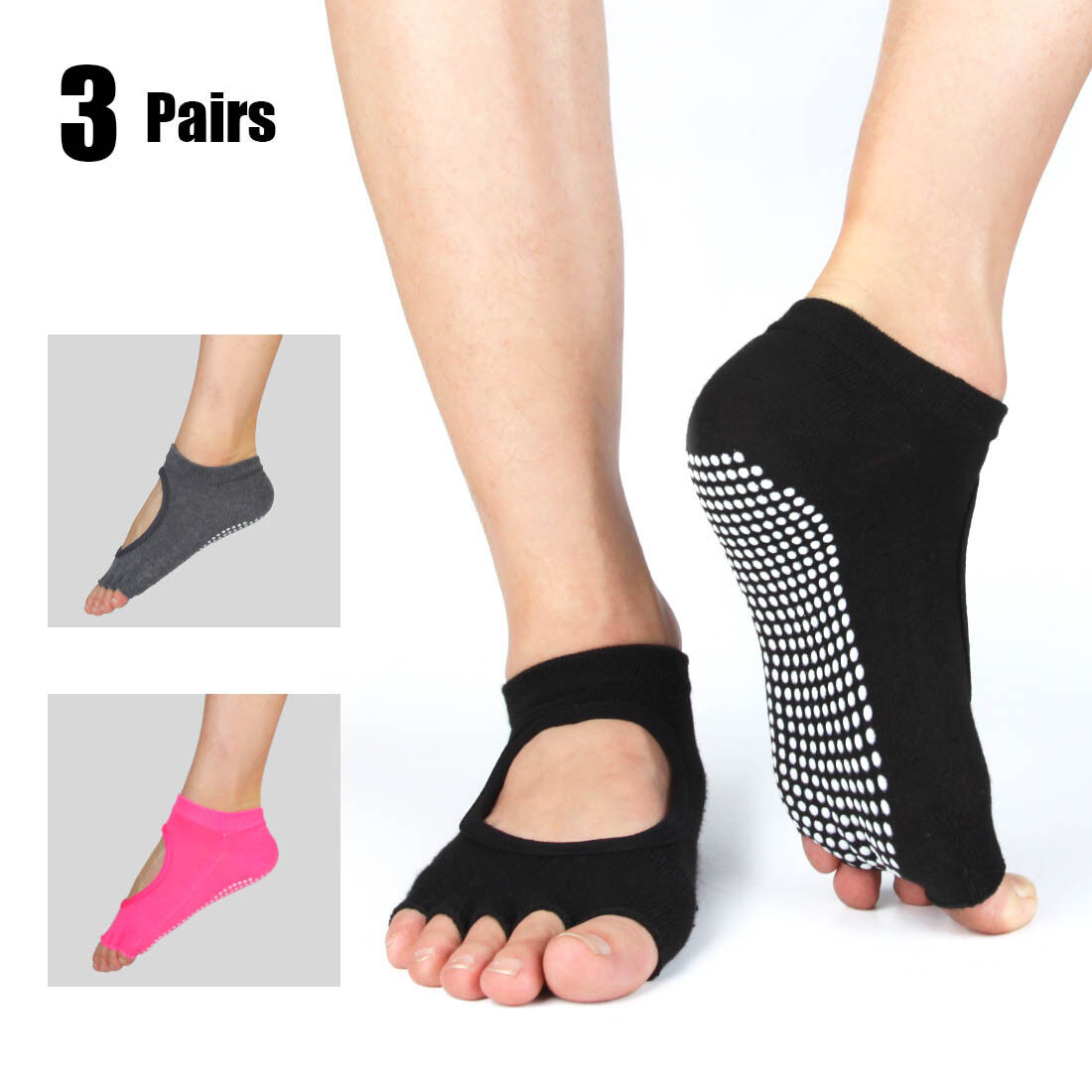 Non Slip Yoga Socks with Grips for Workout Fitness Pilates D