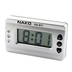 Car Home Silver Tone Digital LCD Desk Wall Clock N3