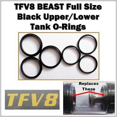 6 - TFV8 BEAST Full Size Black Tank Set Orings ( ORing O-Rings smok Seals )