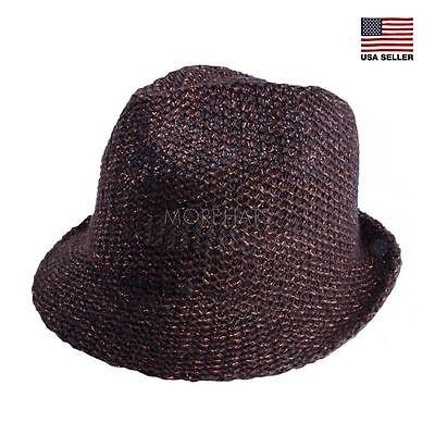 Linen Straw Hat (Metallic Linen Straw Panama Fedora Trilby Cap Beach Sun Hat Womens Mens Summer )