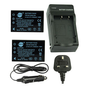 DSTE 2x HD170 Battery + Travel and Car Charger For Drift HD170S HD170 Stealth