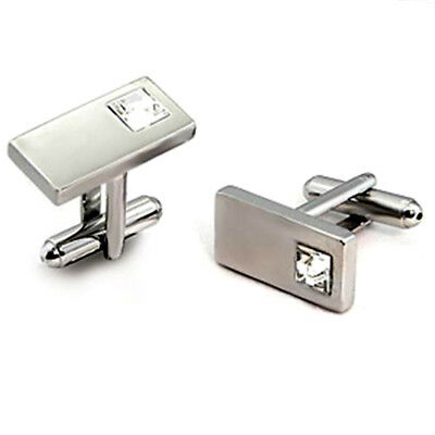 Rhodium Plated Rectangle Brass Cufflinks with Top Grade Crystal Clear Stone Plated Rectangle Cufflinks