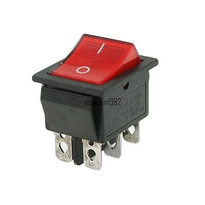 10pcs Dpdt Red Indicator Light 6 Pin Rocker Switch Onoff 250vac 15a125vac 20a