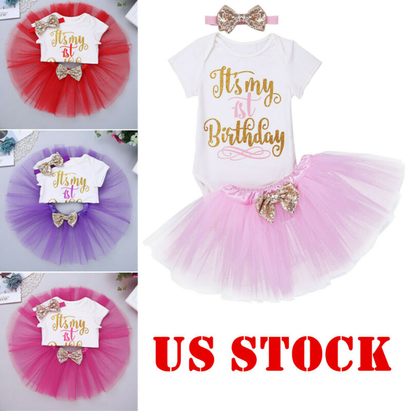 Newborn Baby Girl 1st Birthday Party Romper Tutu Dress Cake Smash Outfit Clothes