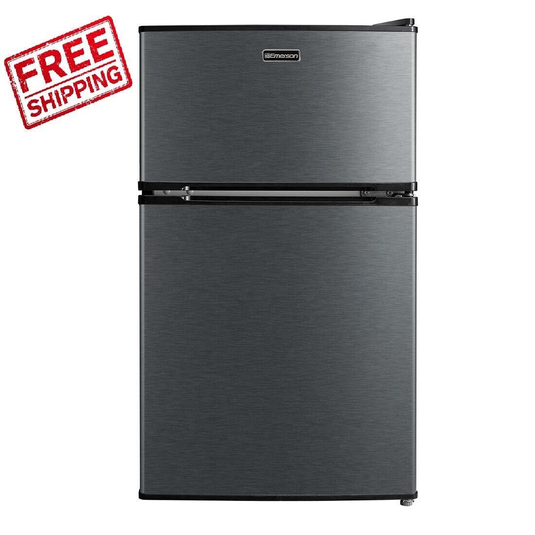 3.1 Cu Ft Stainless Steel Mini Fridge Freezer 2-Door Compact Refrigerator