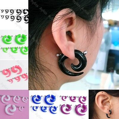 Acrylic Fake Cheater Spiral Taper Barbell Earring Ear Plugs Gauges Body Piercing