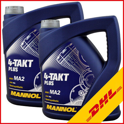 2x 4 Liter MANNOL 10W40 Motoröl 4Takt Plus JASO MA2 Teilsynthetisch Motorrad Öl (Pkw-motoren)