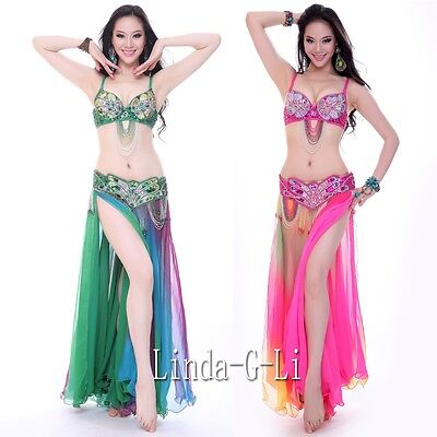 New Belly Dance 2 pics Costume Bra+ Belt Set Outfit USA 34B -USA 40D  (Belly Dance Bra Belt)