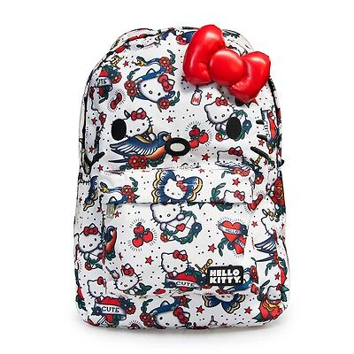 NWT Loungefly Hello Kitty Tattoo Print Face Backpack w/Ears & Plush Red Bow