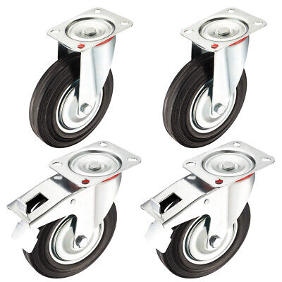 4 Pack 8-inch Rubber Caster Wheel 2 Brake 2 Swivel 507 Lbs Load Capacity Each
