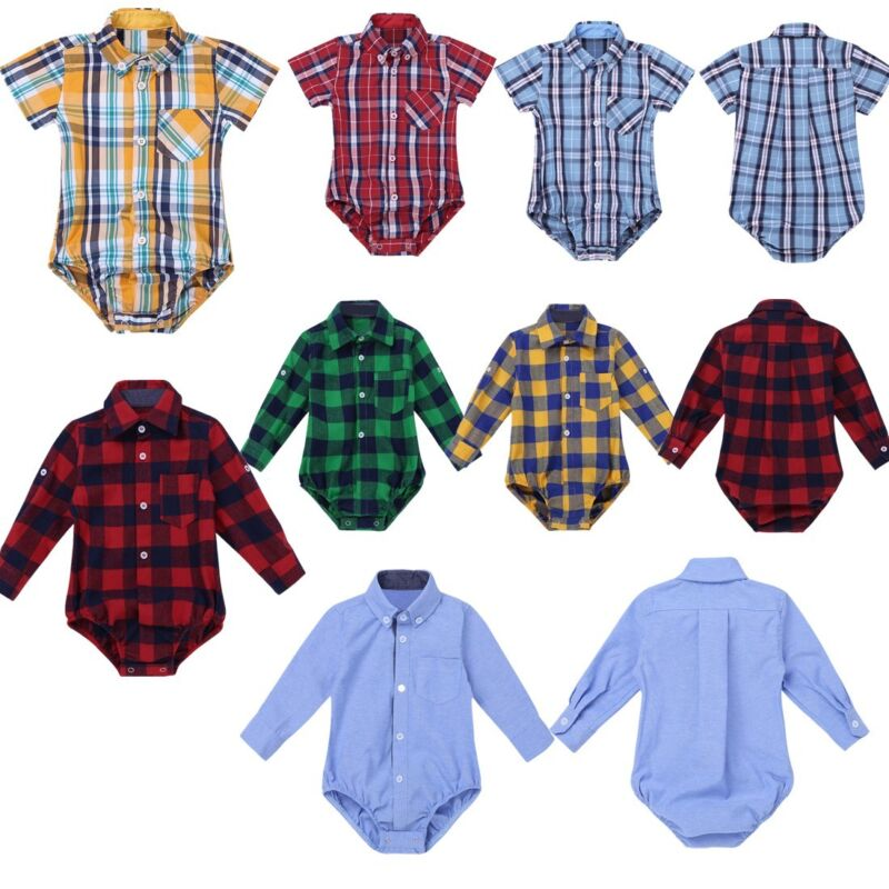 Baby Boys Gentleman Clothes Girls Long Sleeve Plaid Shirt Romper Bodysuit Tops
