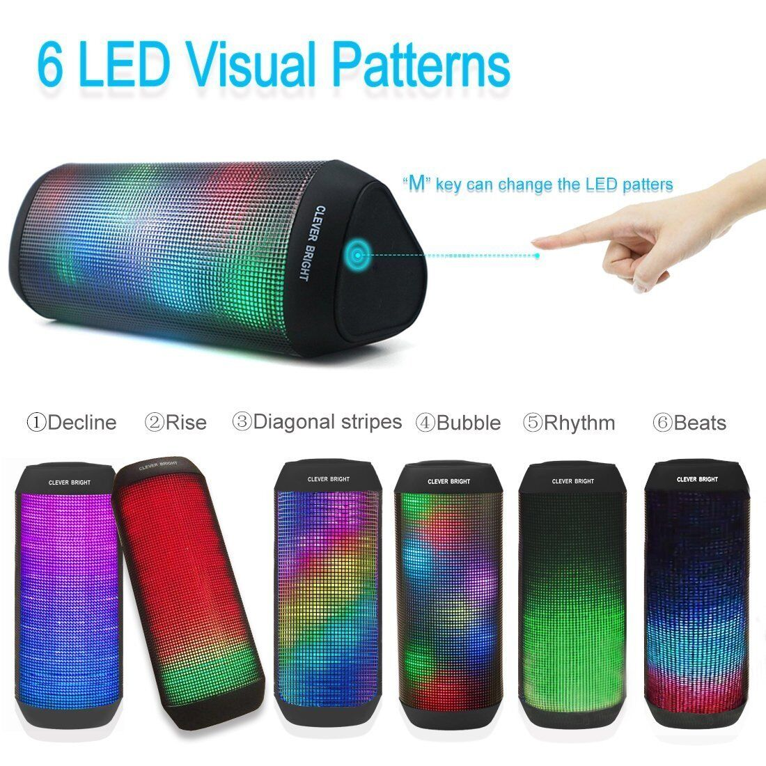 LED Bluetooth Speaker Portable Subwoofer Super Bass Stereo Loudspeakers