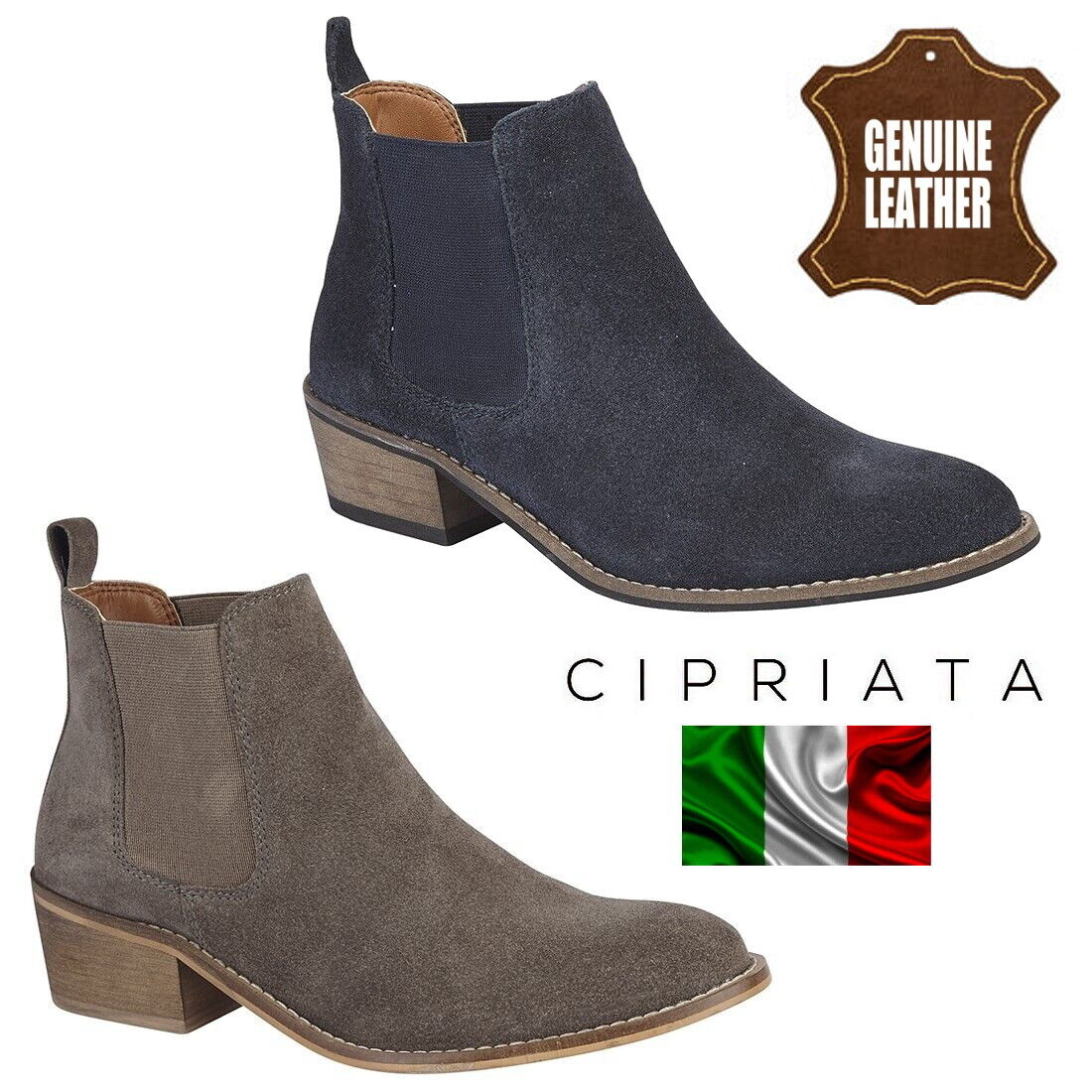 dffe6e4208d Details about Cipriata 'Sabrina' Ladies Suede Twin Gusset Chelsea Boots  Womens Ankle Boot