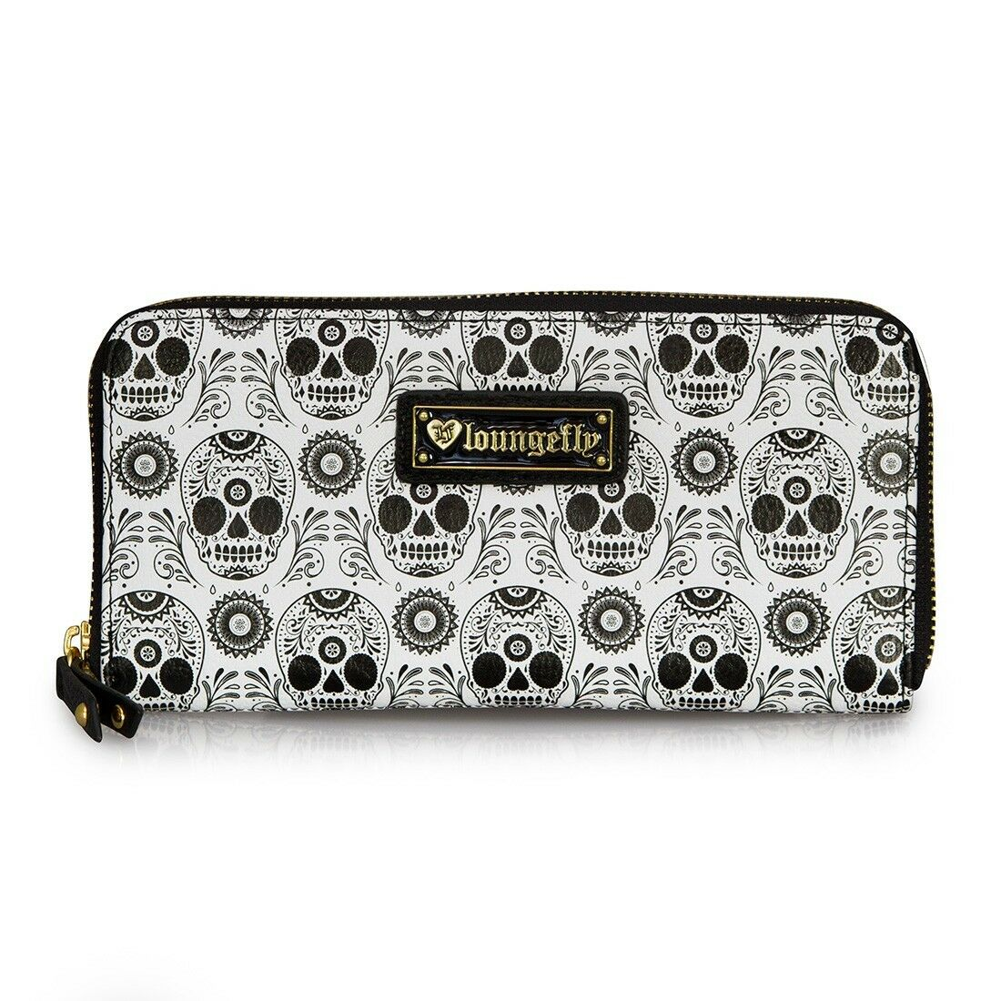 Loungefly Sugar Skull Rockabilly Black & White Clutch Zip Ar