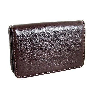 Magnetic Flip Leather Business Credit Card Case Holder Brown N3