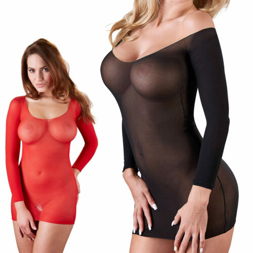 "Mini-Kleid S M L Nylon transparent Dessous Negligee Reizwäsche GoGo ""Kikkie"" D33"