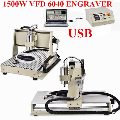 3 Axis 6040 1.5kw Usb Cnc Router Engraver Machine Mill Metal Wood Cutter Spindle