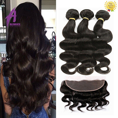Peruvian Virgin Hair Body Wave Ear to Ear Lace Frontal Closure with Bundles US (Ear To Ear Lace Frontal With Bundles)