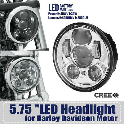 "LED Cree Headlight 5-3/4"" 5.75"" Projection Daymaker for Harley Davidson"