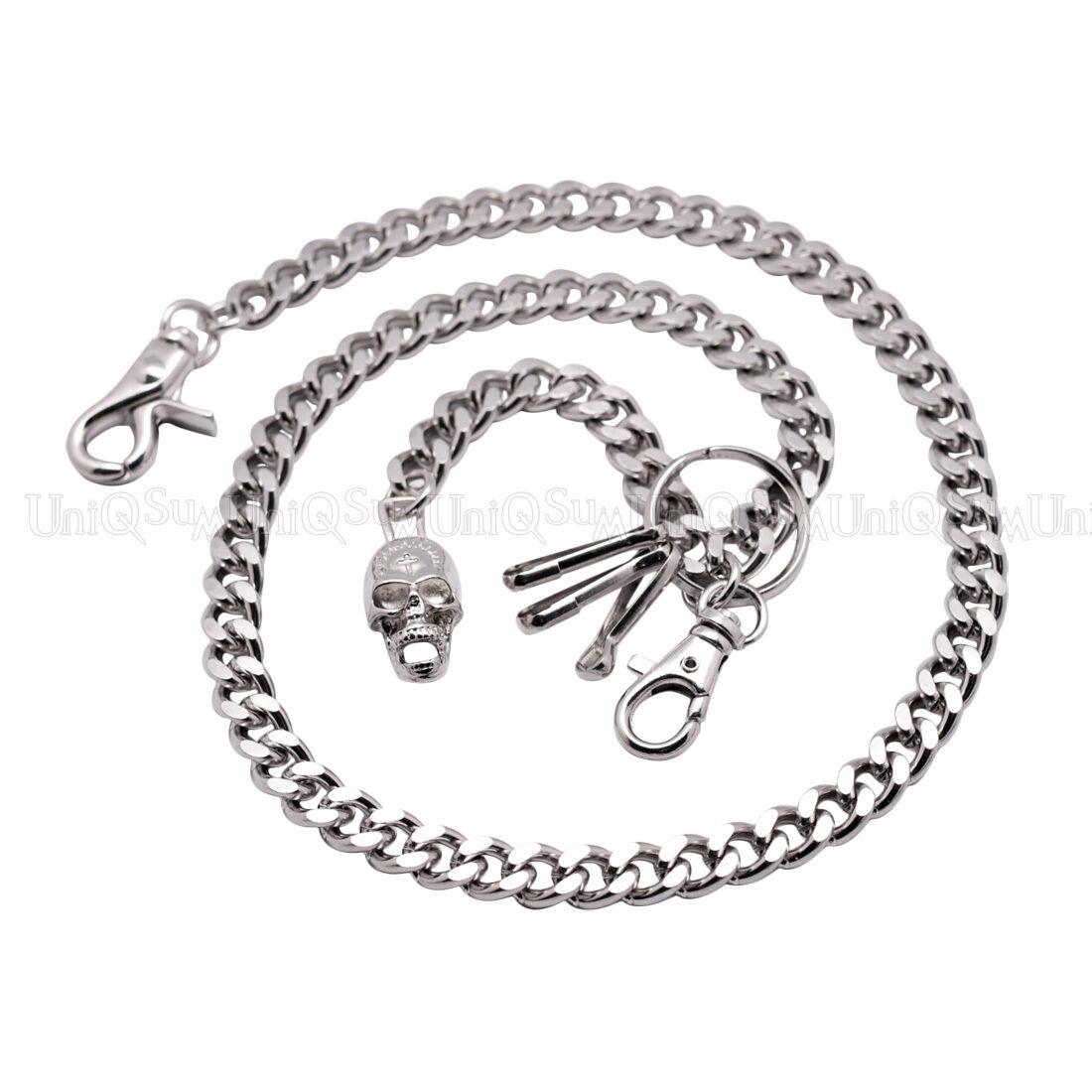 Creepy Skull Cuban Curb short wallet chain Biker Punk Trucker Key chain